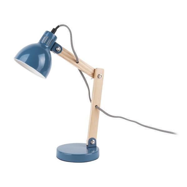Modrá stolní lampa s dřevěnými detaily Leitmotiv Ogle