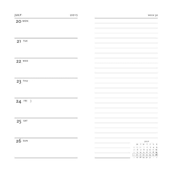Diář pro rok 2015 Ougi 9x18 cm, verso výpis dnů