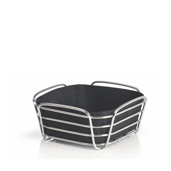 Černý košík na pečivo s černou bavlněnou vložkou Blomus Delara, šířka20cm