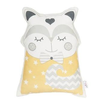 Pernă din amestec de bumbac pentru copii Apolena Pillow Toy Smart Cat, 23 x 33 cm, galben de la Apolena