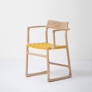 Jídelní židle z masivního dubového dřeva s područkami a žlutým sedákem Gazzda Fawn