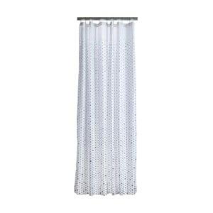 Bílý sprchový závěs s detaily v šedé barvě Zone Drops