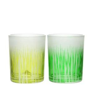 Sada 2ks svícnů Grass Glass, 10x13cm