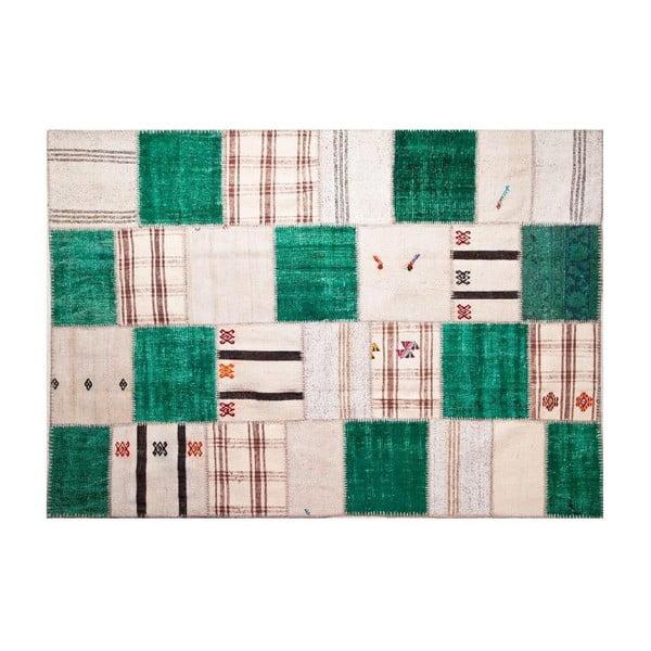Vlněný koberec Allmode Green Kilim, 150x80 cm