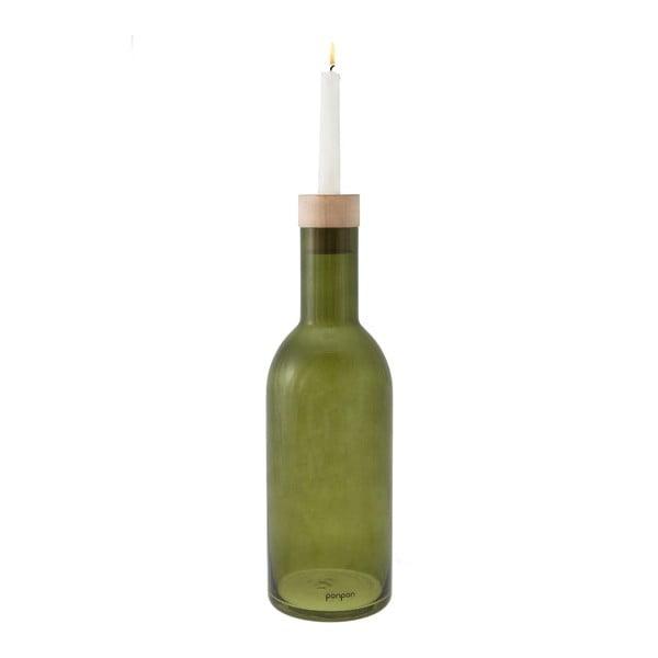 Váza/svícen Bottle 36,8 cm, zelená