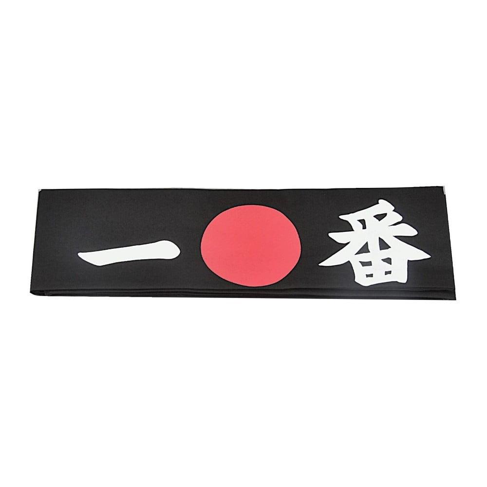 Černý bavlněný šátek na hlavu TokyoDesignStudio Ichiban, 7x115cm