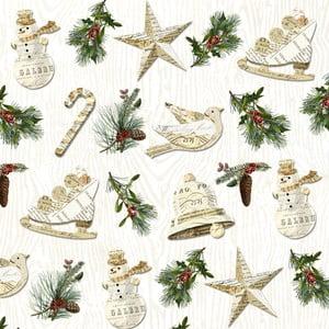Balení 10 papírových ubrousků s vánočním motivem PPD Winter Lodge