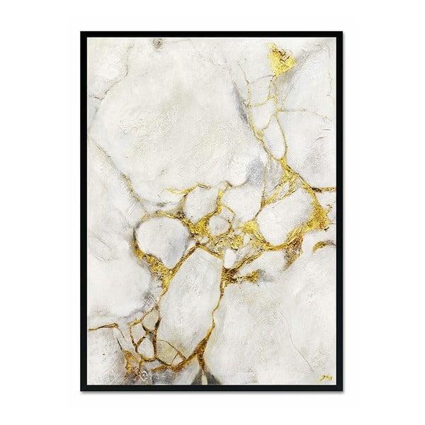 Nástěnný ručně malovaný obraz JohnsonStyle White & Gold Marble Black Frame, 53 x 73 cm