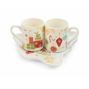 Set 2 hrnků a podšálku z kostního porcelánu Villa d'Este Sweetxmas Tazzine Caffe Scatol