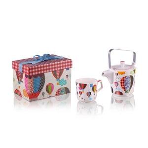 Konvička se 6 hrnky z kostního porcelánu a sítkem na sypaný čaj Silly Design Baloons, 500 ml