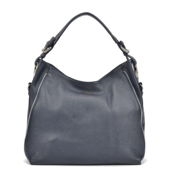 Tmavě modrá kožená kabelka Mangotti Cassie