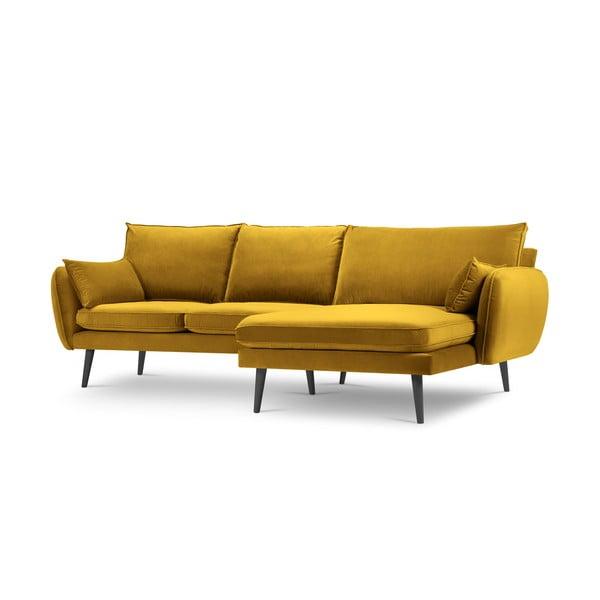 Żółta aksamitna narożna sofa Kooko Home Lento, prawostronny