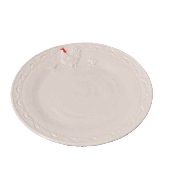 Bílý keramický talíř AnticLine Hen, ⌀ 21 cm