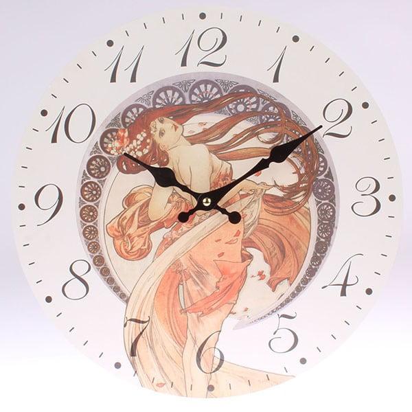 Dřevěné hodiny Mucha, 34x34 cm