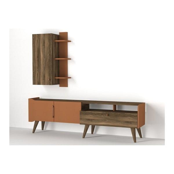 Komplet szafki pod TV i półki z dekorem drewna orzecha Ratto Verona
