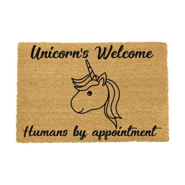 Rohožka z přírodního kokosového vlákna Artsy Doormats Unicorns Welcome,40x60cm