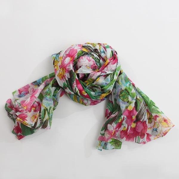 Šátek s motivem květin, zelená/fialová