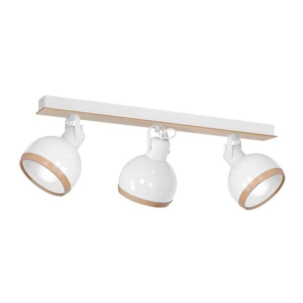 Plafonieră cu detalii din lemn Oval Tres, alb
