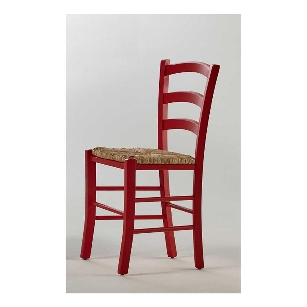 Červená židle z borovicového dřeva SOB Palerma
