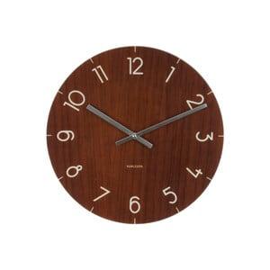 Tmavě hnědé hodiny Present Time Glass Wood, ⌀ 40 cm