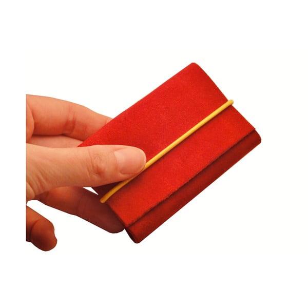 Peněženka Chocolate s červenou a neonově žlutou gumičkou