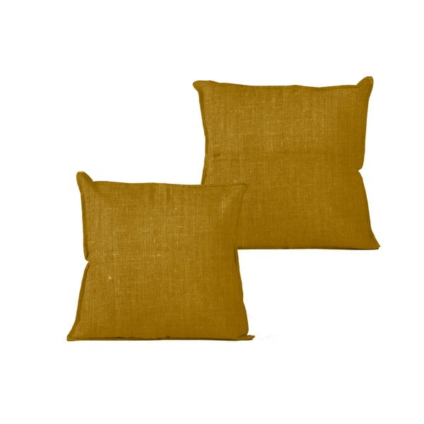Horčicovohnedý vankúš Linen Couture Mustard, 45 x 45 cm