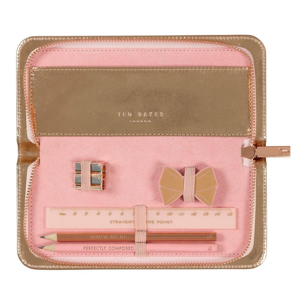 Set penálu v růžovozlaté barvě a papírenských potřeb Ted Baker