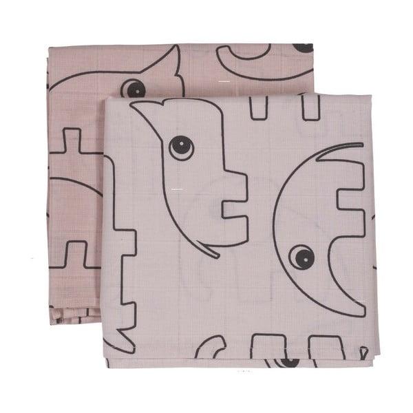 Mušelínové plenky Contour, růžové, 2 ks