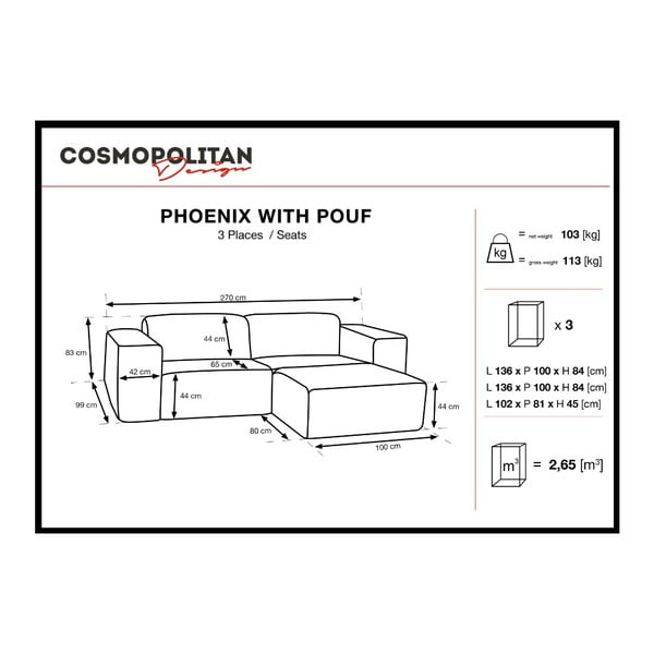Fialová trojmístná pohovka s pufem Cosmopolitan Design Phoenix
