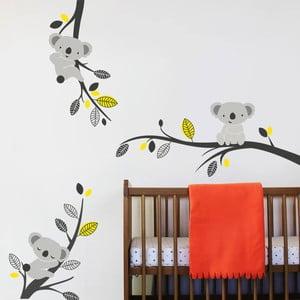 Samolepka na stěnu Koaly a větve, žlutá - 2 archy, 70x50 cm