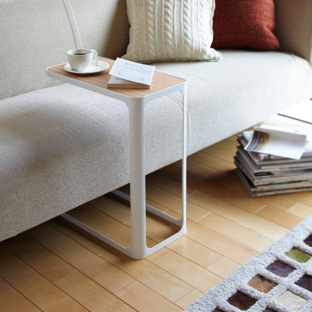 Bílý boční stolek YAMAZAKI Frame
