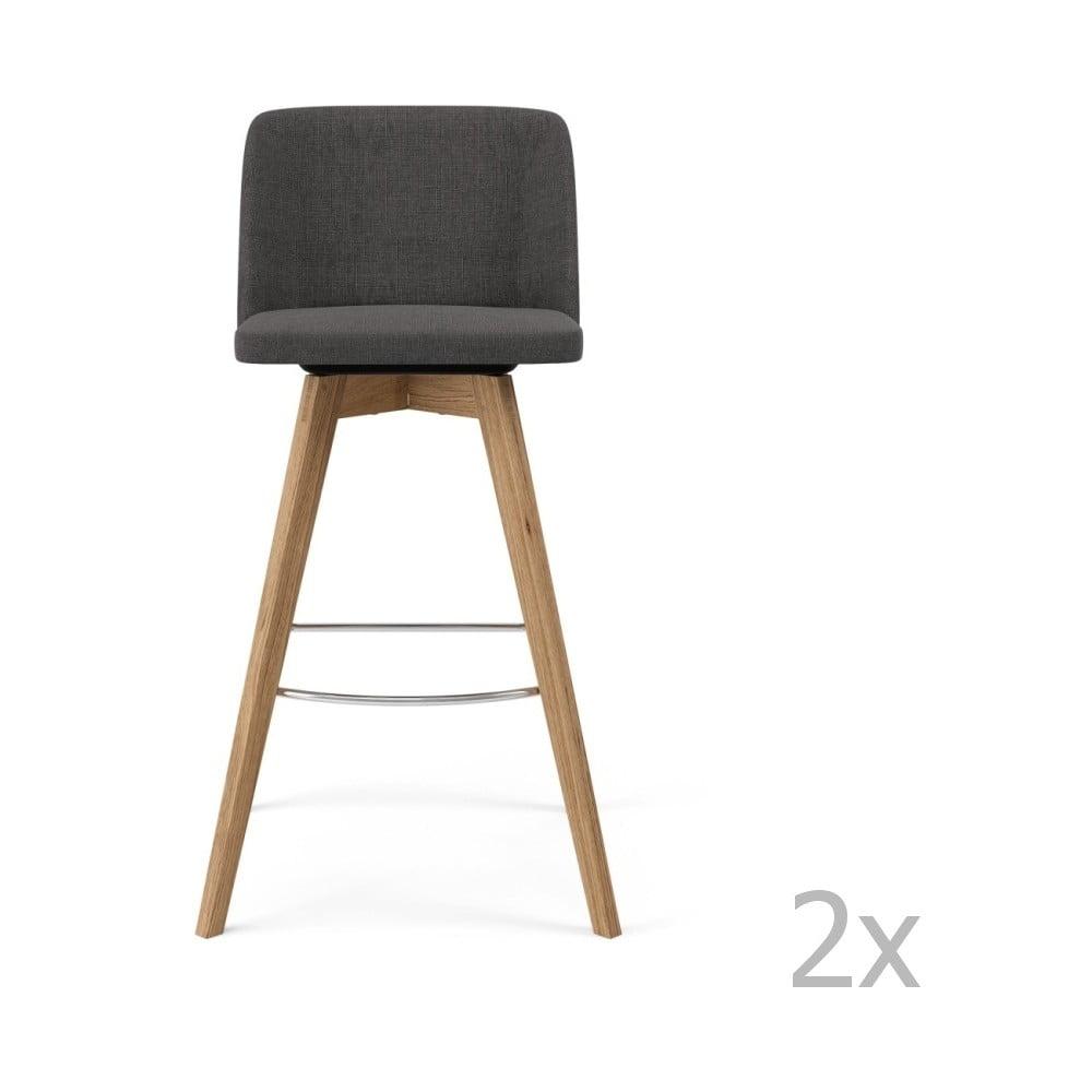 Sada 2 šedých barových židlí Tenzo Tom, výška 99cm