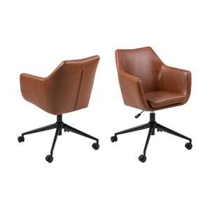 Hnědá kancelářská židle na kolečkách z umělé kůže Actona Nora