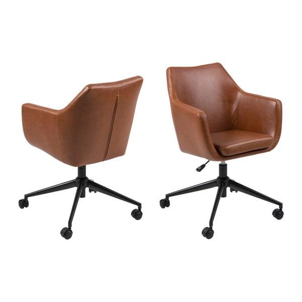 Brązowy fotel biurowy ze skóry ekologicznej Actona Nora