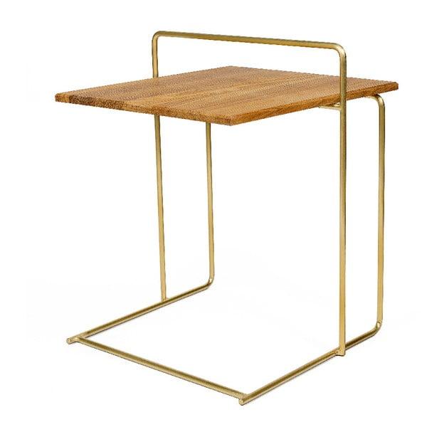 Carlo Bronze tárolóasztal, tölgyfa asztallappal - Askala