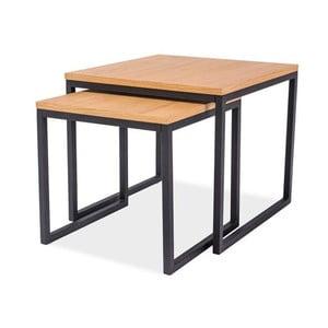 Sada 2 odkládacích stolků s deskou v dubovém dekoru a černou ocelovou konstrukcí Signal Largo