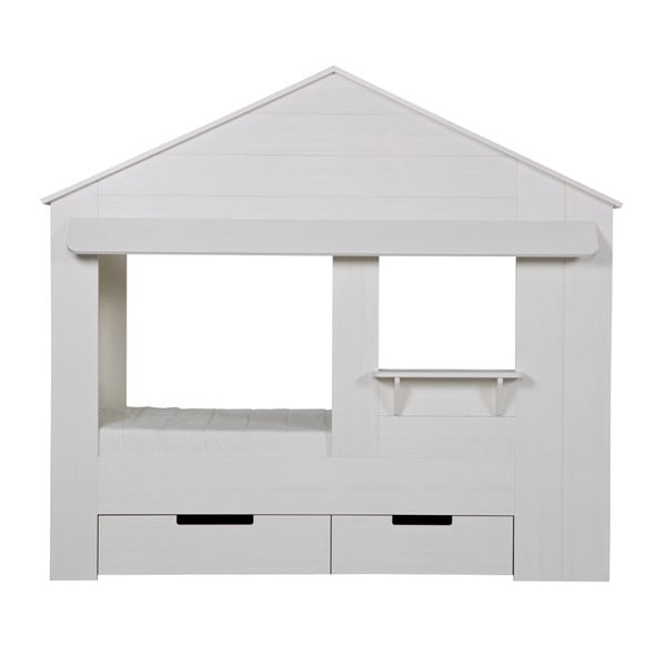 Bílá dětská postel z borovicového dřeva WOOOD Huisie