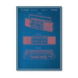 Plakát Vintage Boombox, 30x42 cm