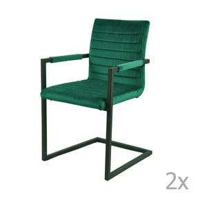 Sada 2 zelených jídelních židlí Indi