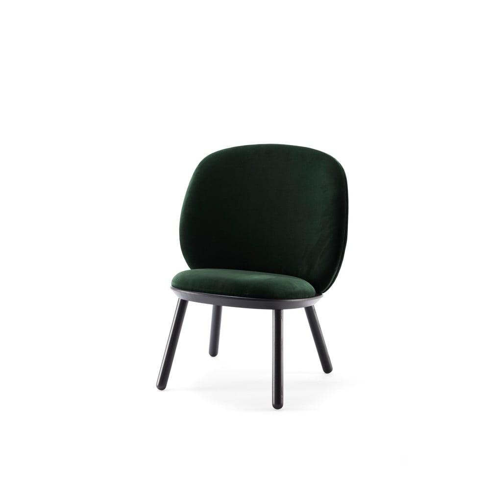 Zeleno-černé sametové křeslo EMKO Naïve