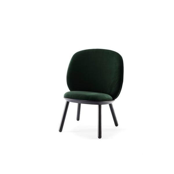 Zielono-czarny aksamitny fotel EMKO Naïve