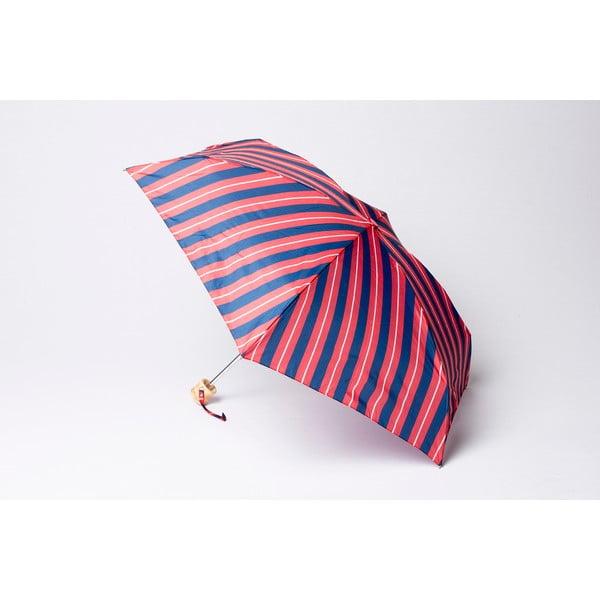 Skládací deštník Stripe, červeno-modrý