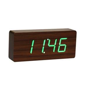 Ceas cu LED verde Slab, lemn de nuc