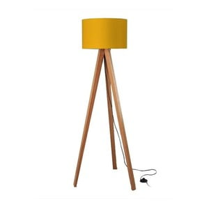 Stojací lampa Tripod Yellow/Walnut