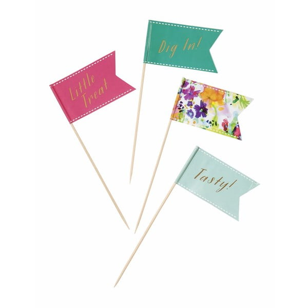 Sada 24 napichovátek s vlaječkami Talking Tables Floral Fiesta