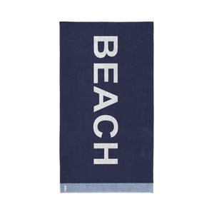 Tmavě modrá bavlněná osuška Seahorse Beach, 180x100cm