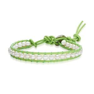 Dámský náramek zelený z pravé kůže s perlami Lucie& Jade Amy