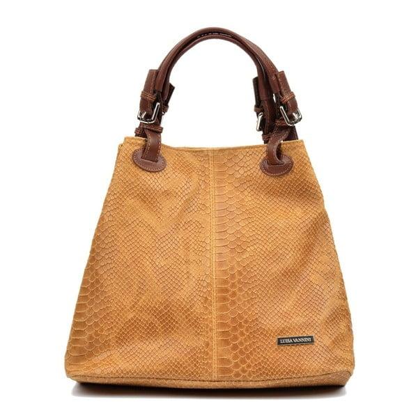 Koňakově hnědá kožená kabelka Luisa Vannini Amalia