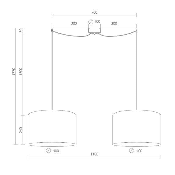 Bílé dvojité stropní svítidlo s vnitřkem ve stříbrné barvě Sotto Luce Mika