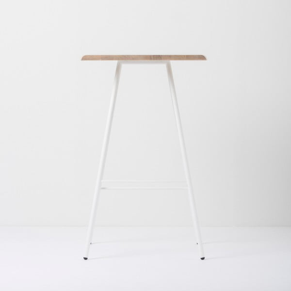 Barový stolek s deskou z masivního dubového dřeva a bílými nohami Gazzda Leina